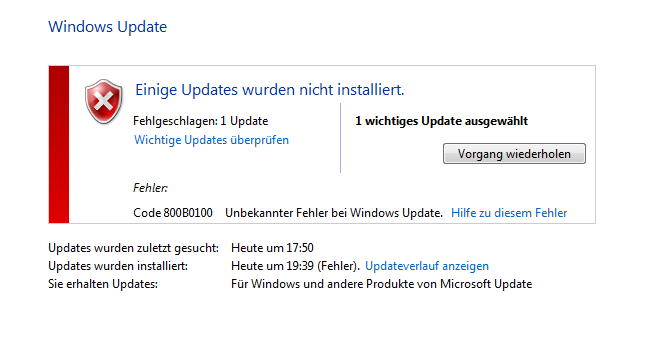 windows update fehler