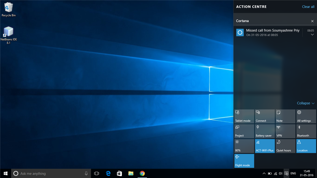 Windows 10 Both Flight Mode And Wi Fi Both Are On In The Action Microsoft Community
