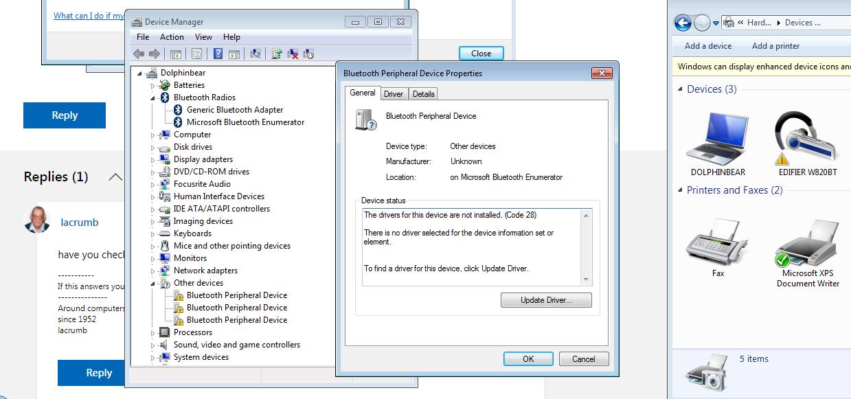 Bluetooth Headset Device Driver Not Found Windows 7 64 Bit Microsoft Community