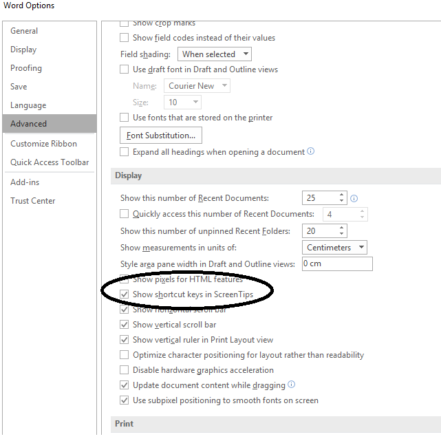 Shortcut keys in screentips word 2016 not shown even when checked in word 2016 you should see shortcut keys in screentips when you have the option turned on ccuart Choice Image