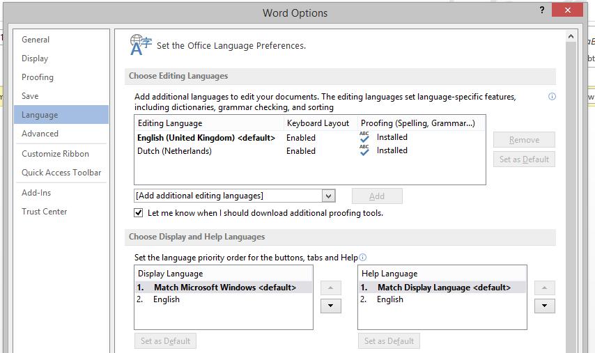 Dutch proofing tool not working - Microsoft Community