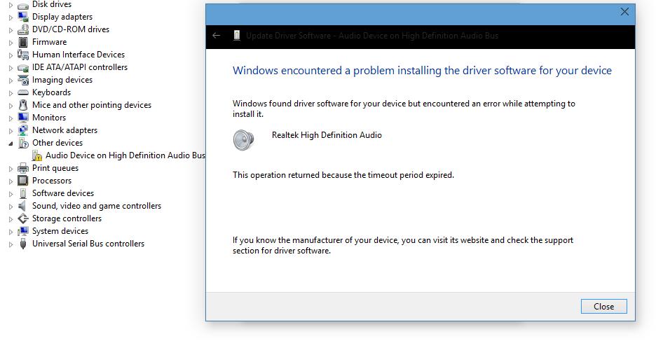 audio driver problems windows 10