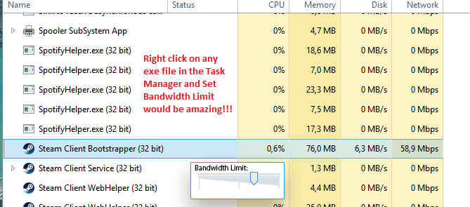 Add bandwidth limiter to Win 10, allowing us to limit