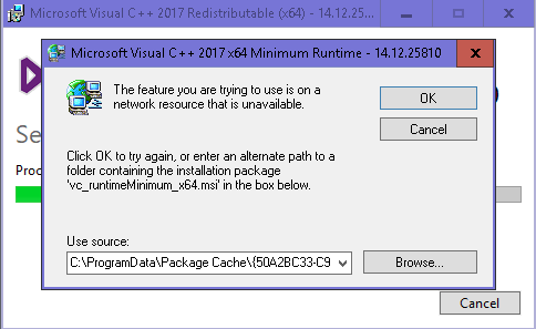 microsoft visual c++ redistributable package (x64) is not installed