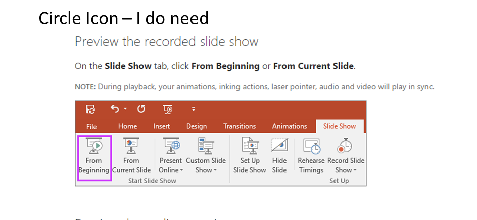 PowerPoint 2016 - Record a Slideshow Button has gone square