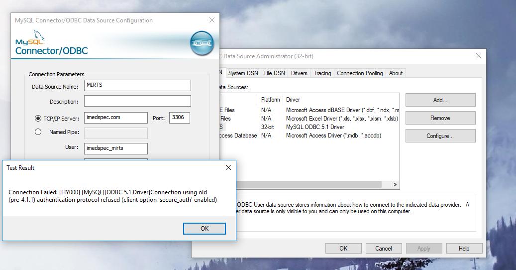 Mysql odbc driver 5.1