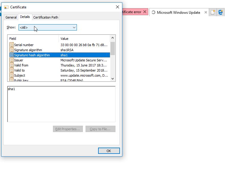 Windows Update Issuse Sha1 Certificate Microsoft Community