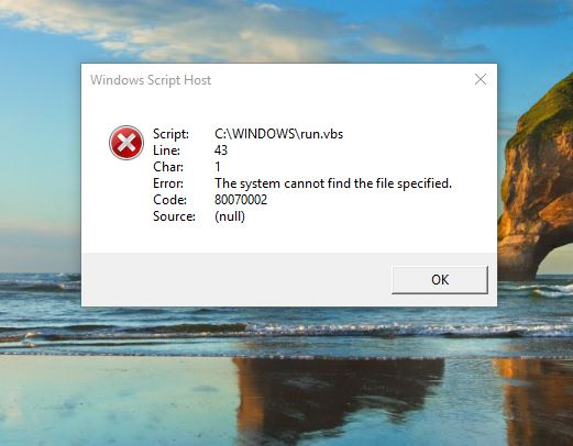 when starting Windows 10, run vbs script errot occurs, is there a