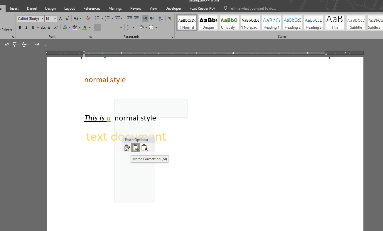 difference between merge formatting vs text only in word microsoft