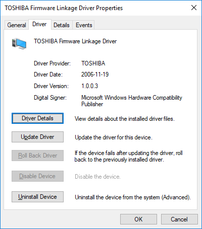 TOS1901 x86 32 bit driver for TOSHIBA Firmware Linkage