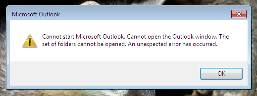 Cannot start Microsoft Outlook  Cannot open the Outlook