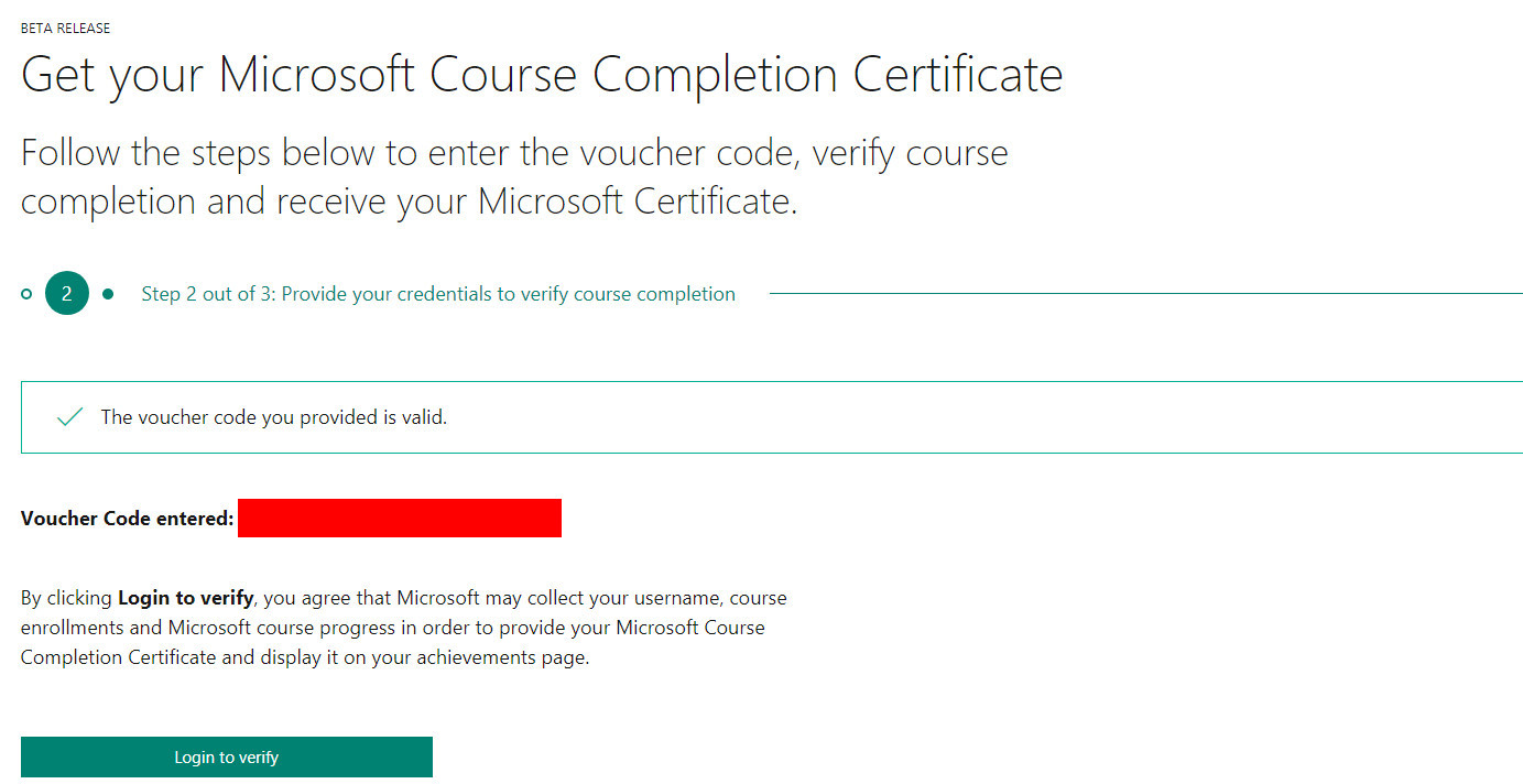 my course can t finish voucher redemption training certification