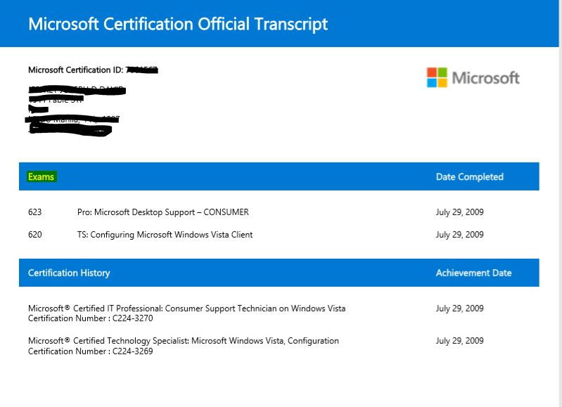 Mcp Certificate Not Refreshed After Passing 698 Updated From Win7