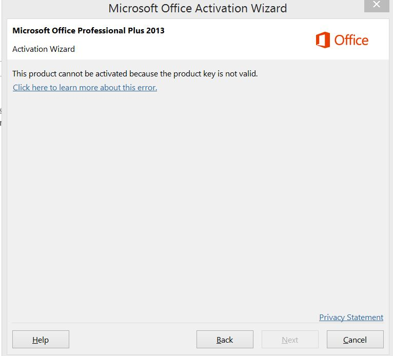 microsoft office 2013 is not activated error