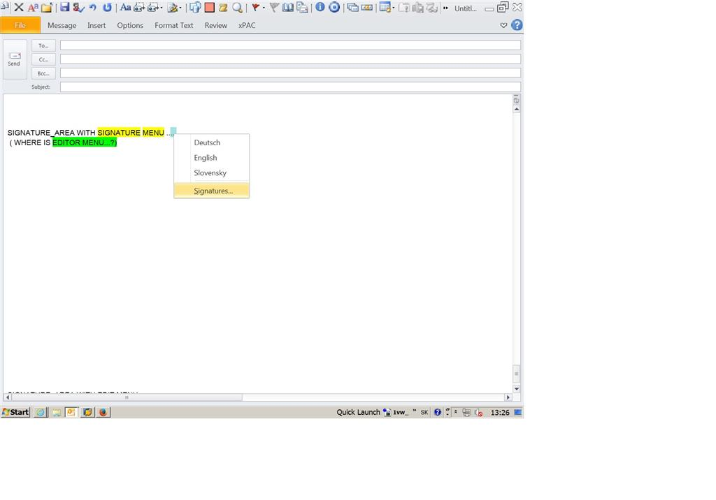 ?..Outlook 2010: Right Click > ONLY Signature Menu, How To