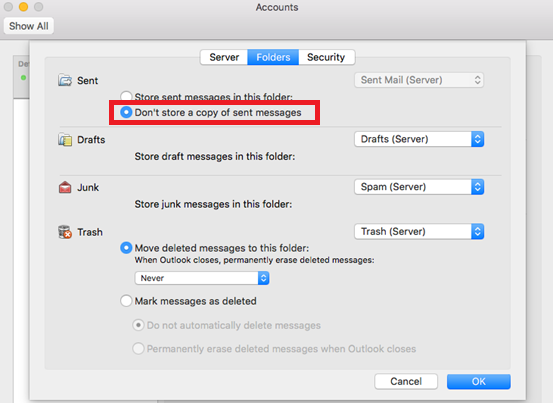 DUPLICATE EMAILS IN SENT BOX       MS OUTLOOK FOR MAC