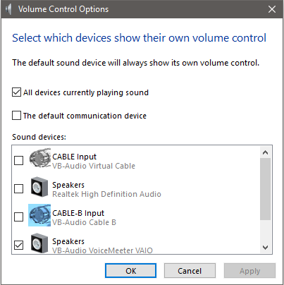Multiple audio volume control sliders missing upon upgrading to