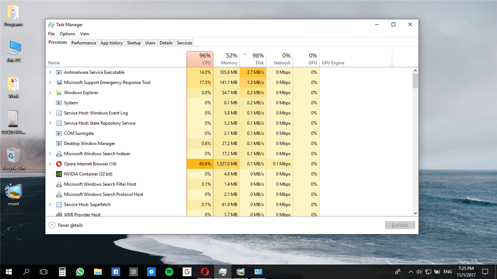High cpu, disk, memory usage after Windows 10 update - Microsoft
