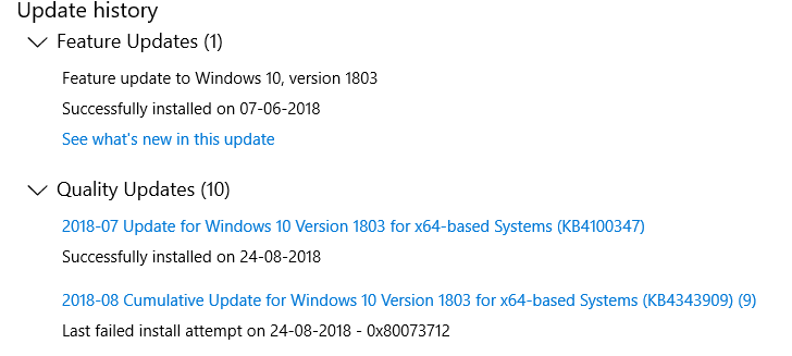 feature update to windows 10 version 1803 failed to install