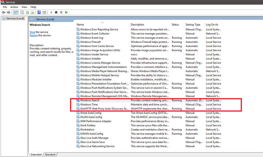 windows 10 update service missing and unable to update