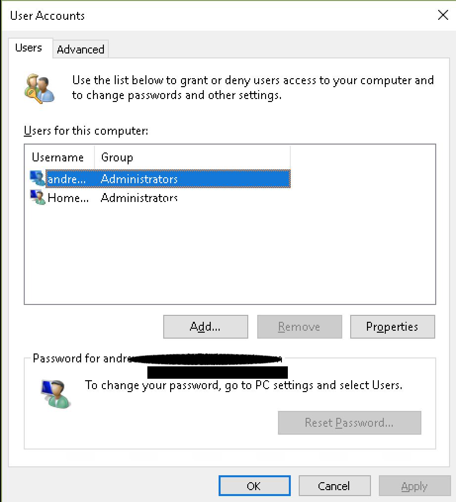 netplwiz disable password windows 10
