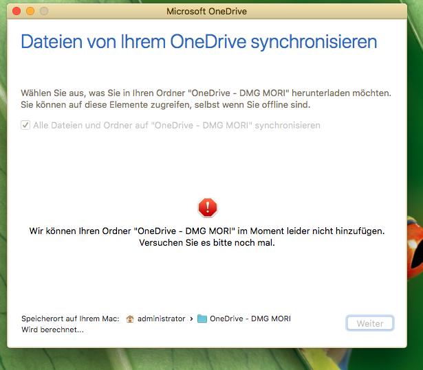 OneDrive for Business - Wir können Ihren Ordner im Moment leider