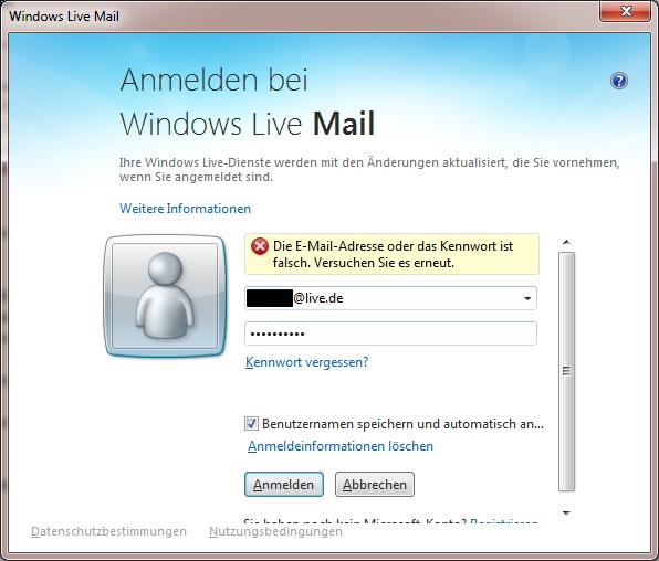 windows live mail passwort vergessen