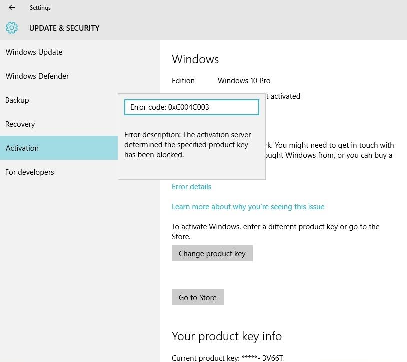 windows 10 lost activation 0xc004c003