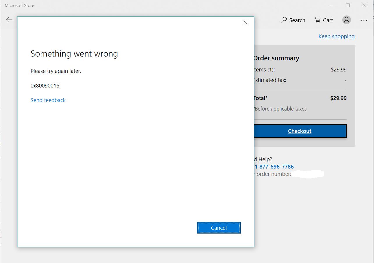 Microsoft Store - Error Code 0x80090016 - Microsoft Community