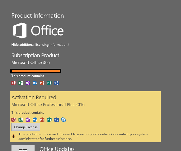 Second (pirated) copy of Office installed next to Office 365
