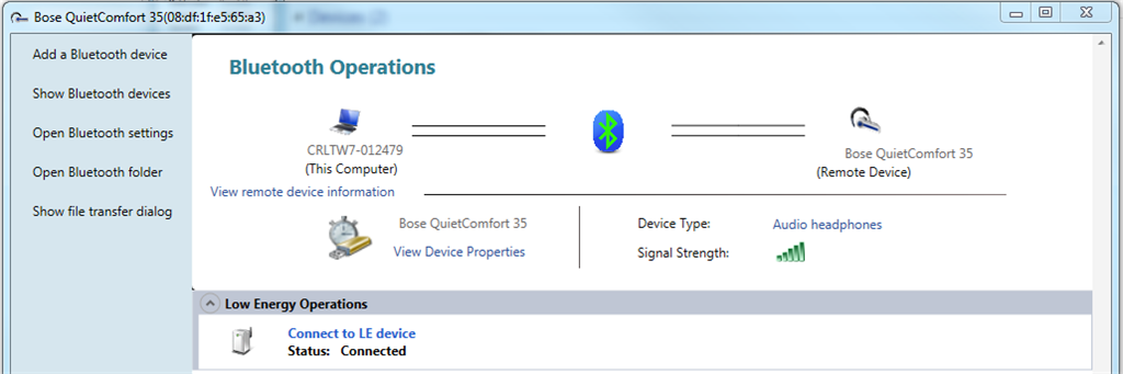 Bose QuietComfort 35 not working on Windows 7 (64bit