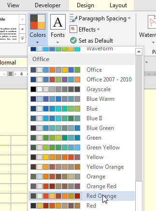 how to choose color and accent in microsoft word