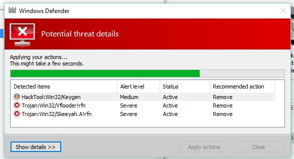 Defender taking a long time to remove a virus - Microsoft