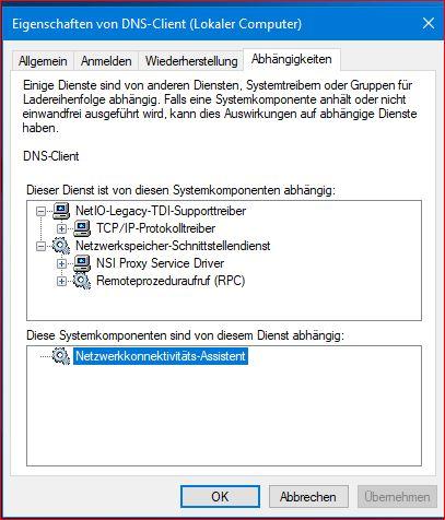 DNS-Client unter Windows 10 lässt sich nicht aktivieren