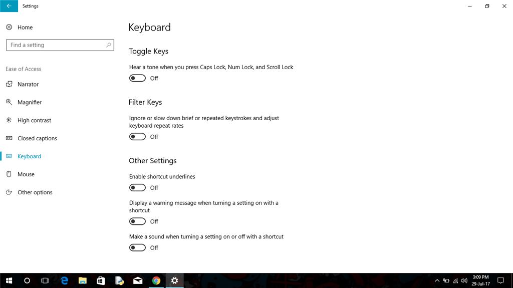 Not Able to disable shortcut underline in windows 10