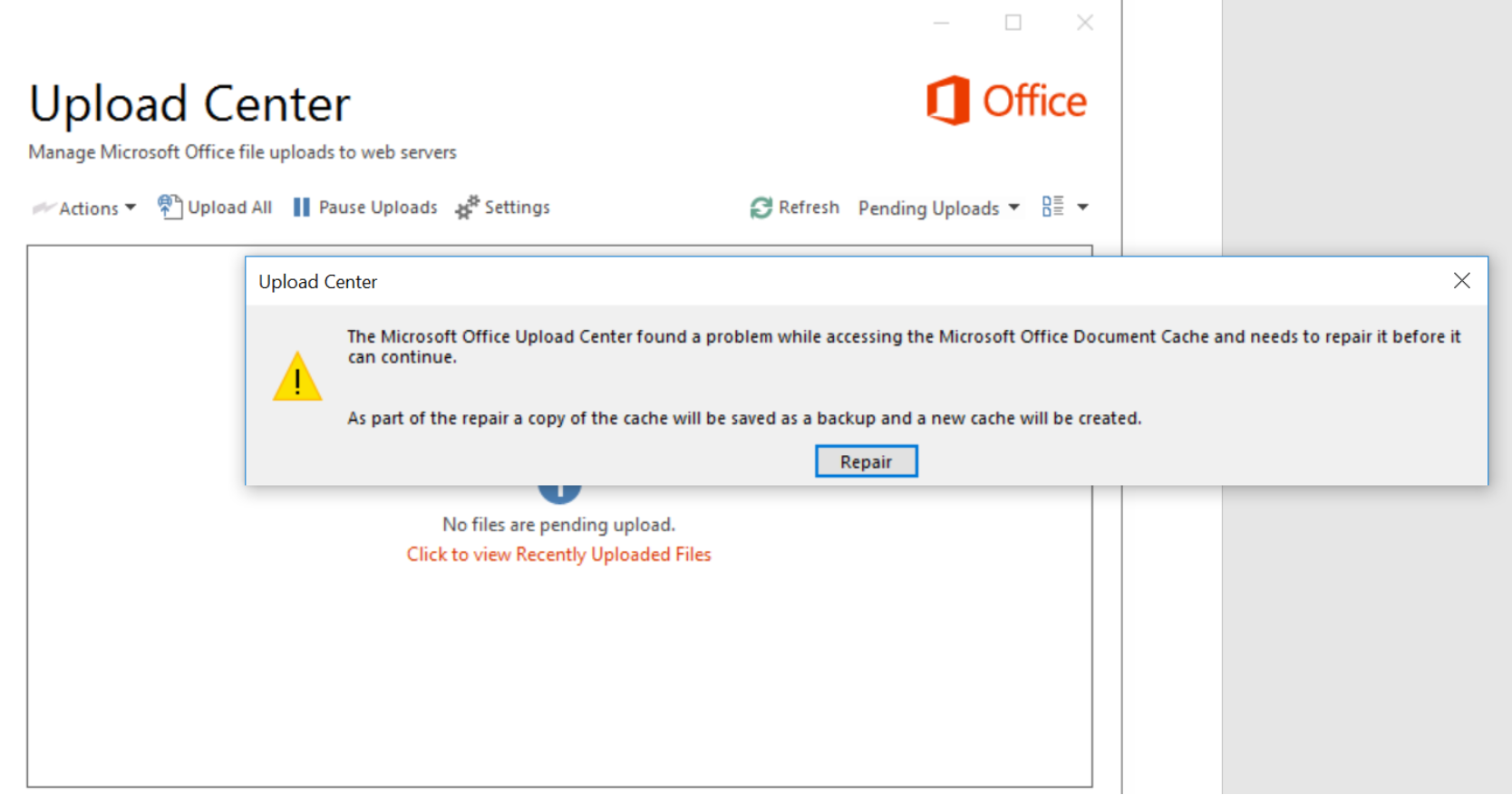 The Microsoft Office Upload Center found a problem while accessing