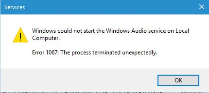audio service is not running windows 10 after update