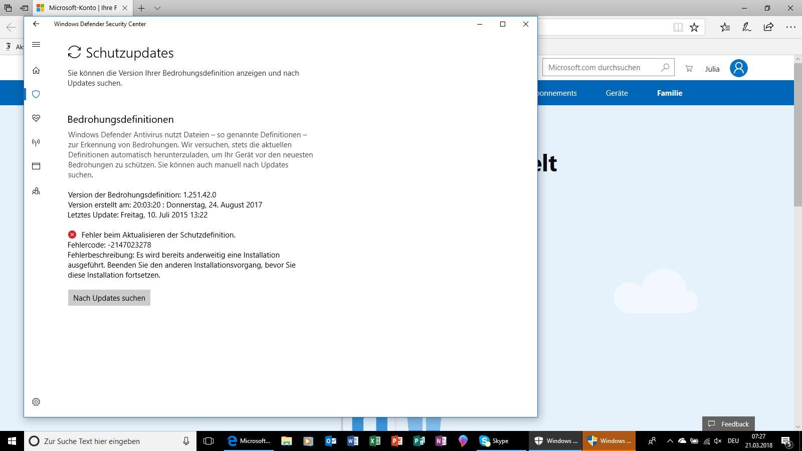 MS Defender Viren & Bedrohungsschutz nicht aktivierbar UND Musik aus iTunes Store lässt...