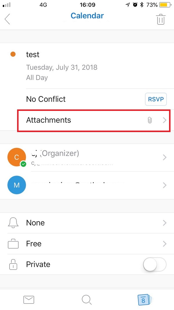 Outlook for IOS app cannot view attachments within calendar invites