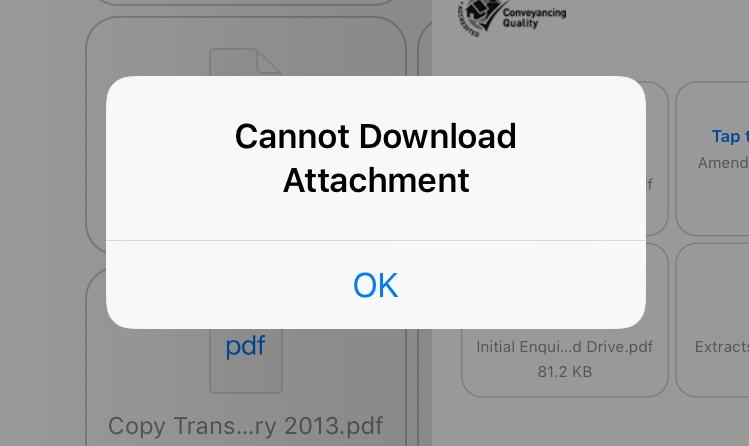 Cannot download attachment iphone