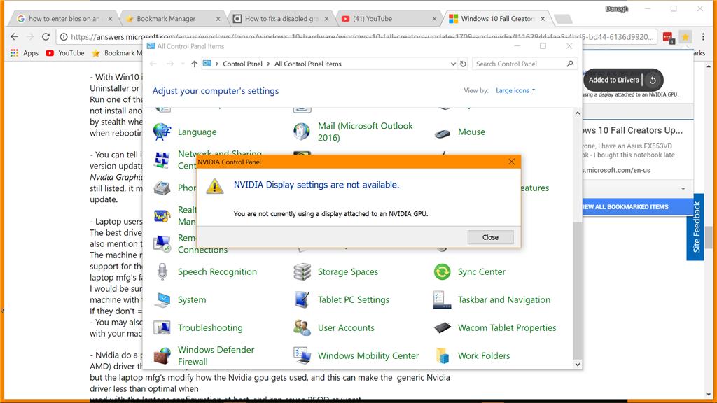 Windows 10 Fall Creators Update 1709 and Nvidia Graphics