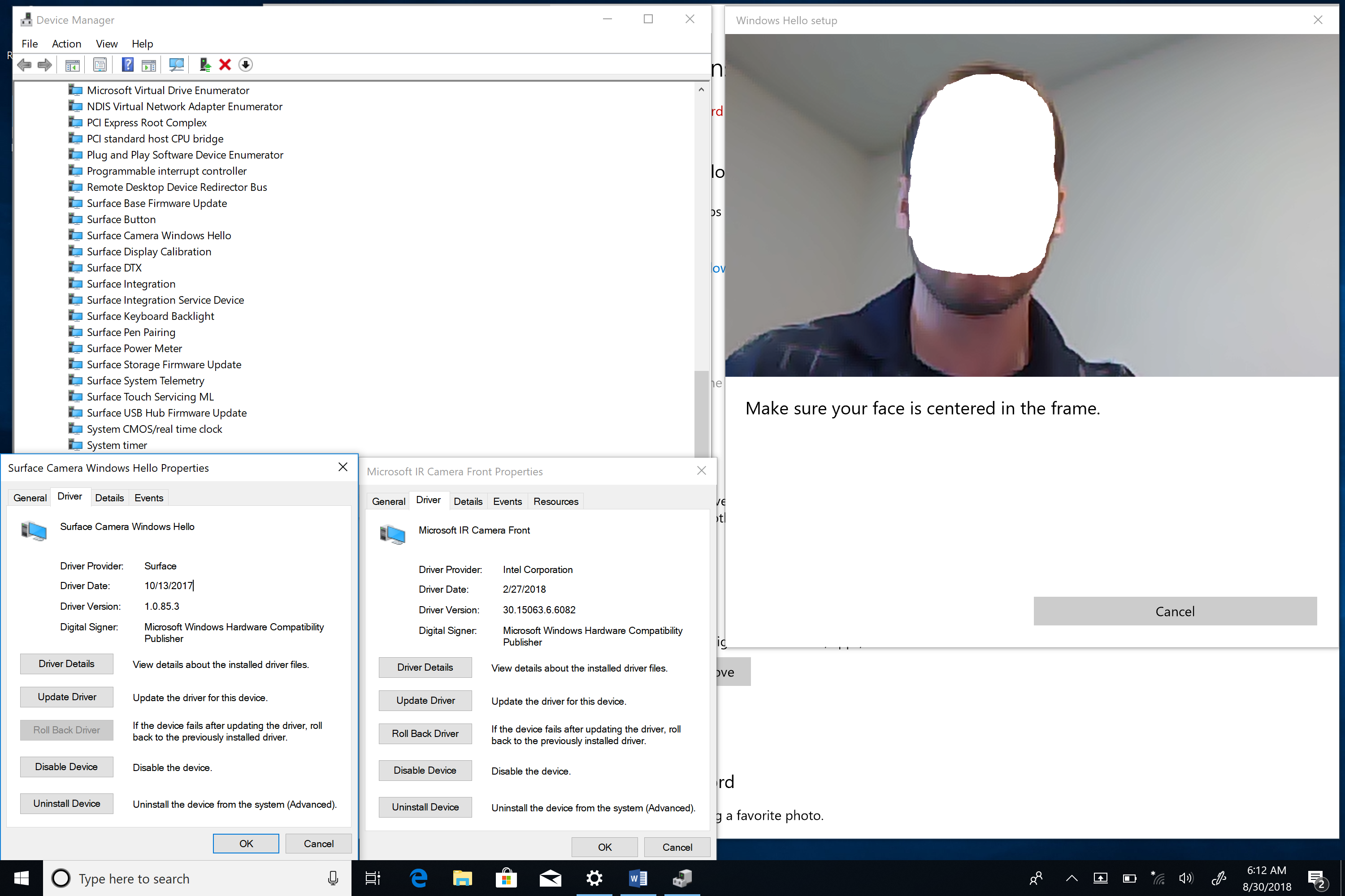 Windows Hello camera turns on but no box is placed around a
