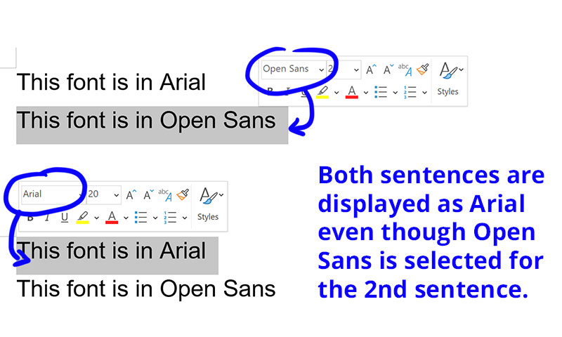 Open Sans font not displaying correctly on MS Word 365 - Microsoft