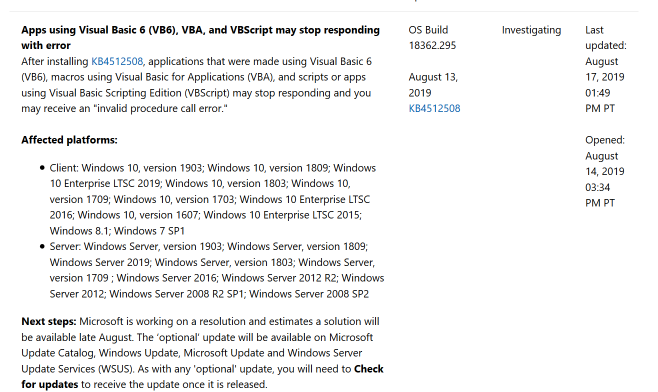 Release date for Windows 10 1903 VB6 errors - Microsoft