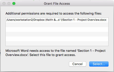 Word cannot open the document: user does not have access