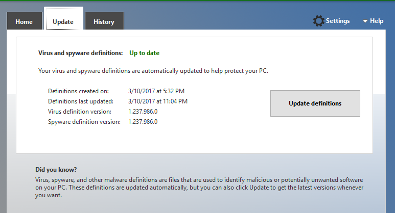 up to date virus definitions