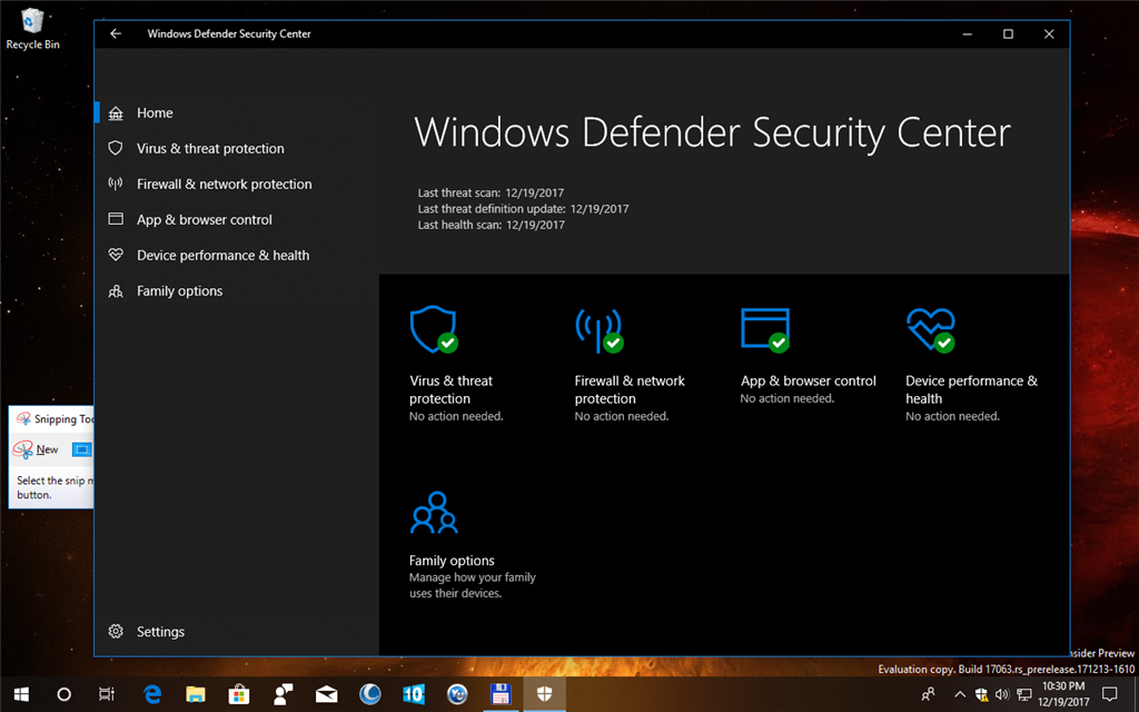 Windows Defender showing Actions Recommended Build 17063
