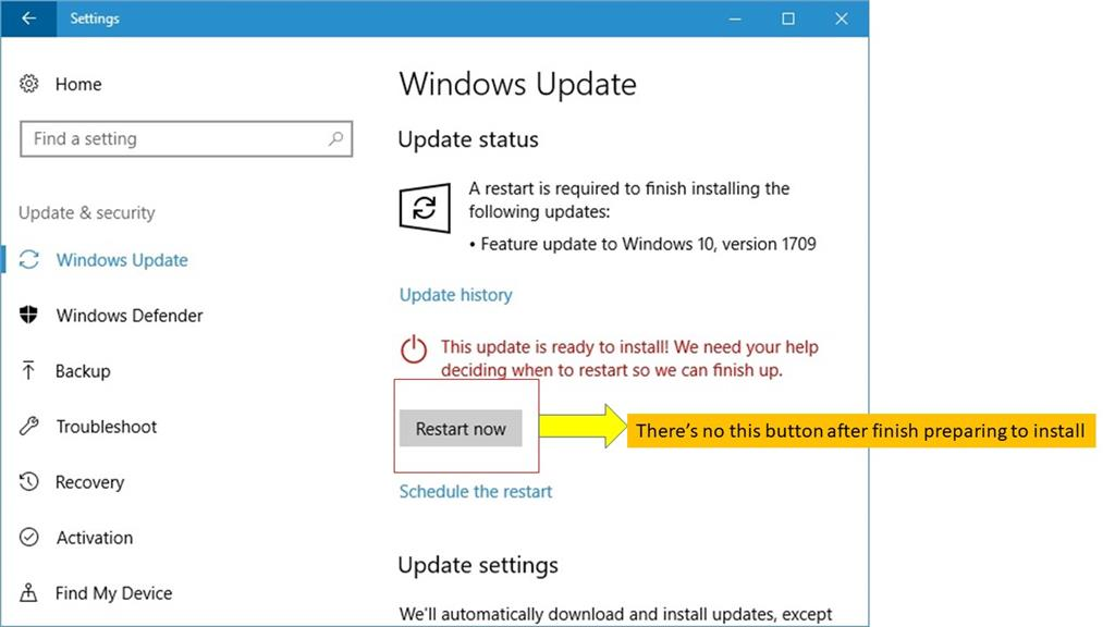 "Don't have ""Restart Now"" button after Windows Update to ..."