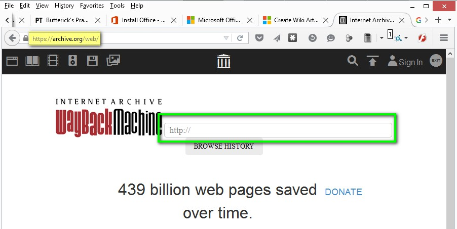 WayBackMachine - Internet Archive - Find missing Web pages