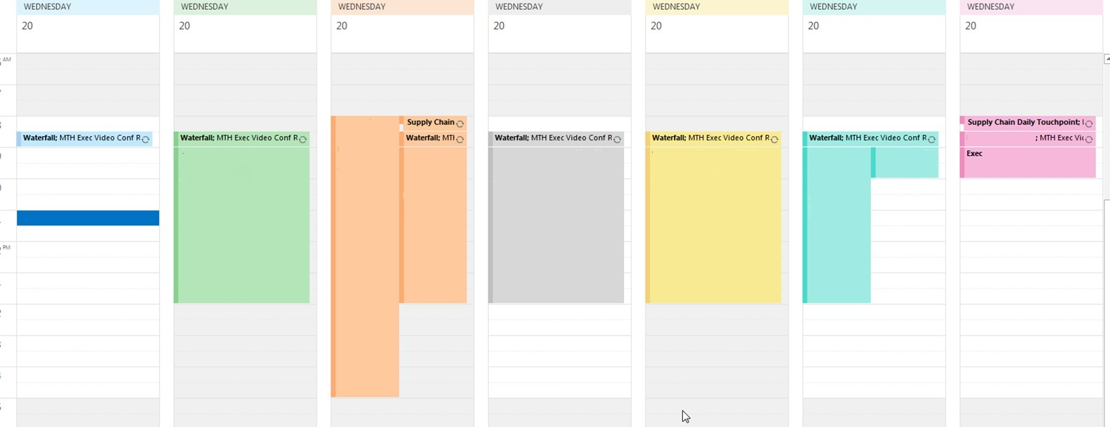 Office 365, Outlook 2016, Multiple calendars working hours